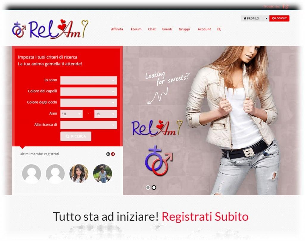 progetto di sito Web di incontri