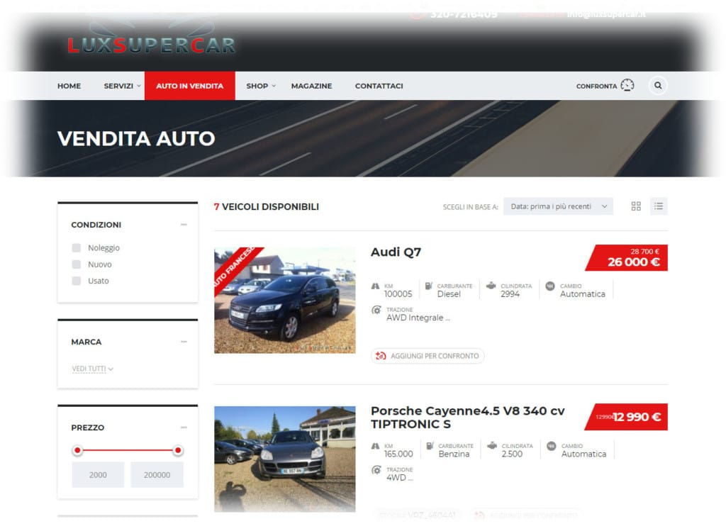 Vendita e noleggio auto di lusso
